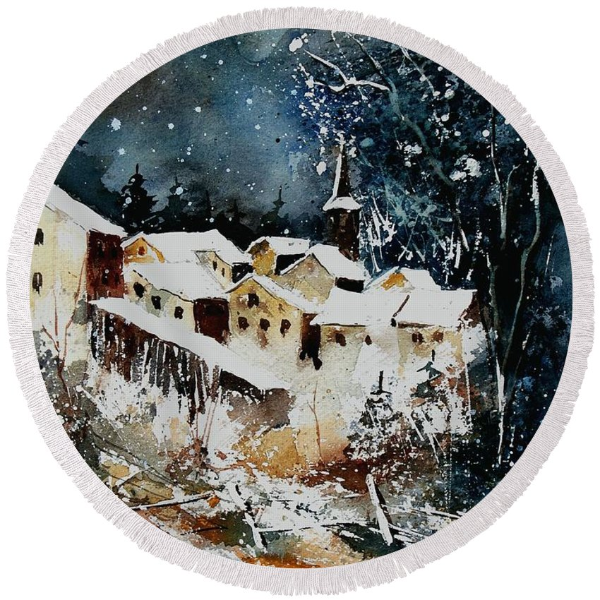 Winter Round Beach Towel featuring the painting Winter In Vivy by Pol Ledent