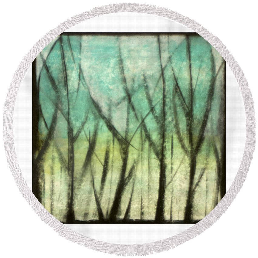 Trees Round Beach Towel featuring the painting Winter Into Spring by Tim Nyberg