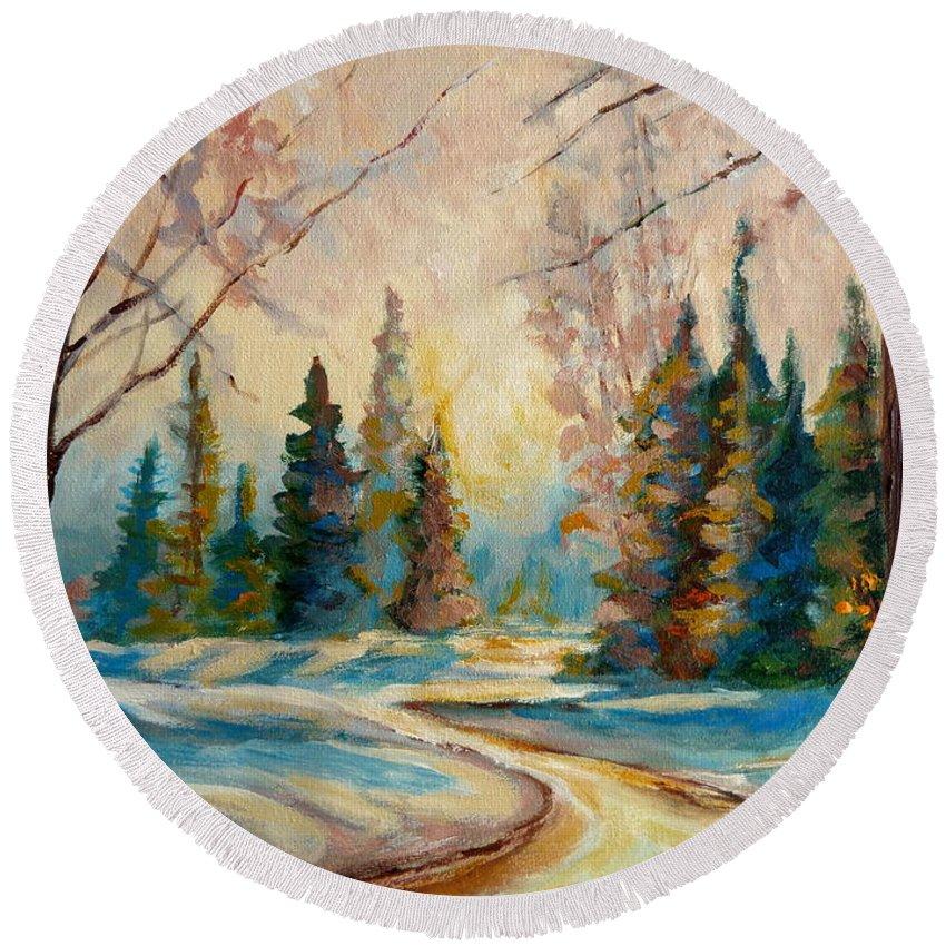 Winter Landscape Knowlton Quebec Round Beach Towel featuring the painting Winter Landscape Knowlton Quebec by Carole Spandau