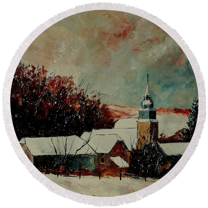 Winter Round Beach Towel featuring the painting Winter Landscape by Pol Ledent