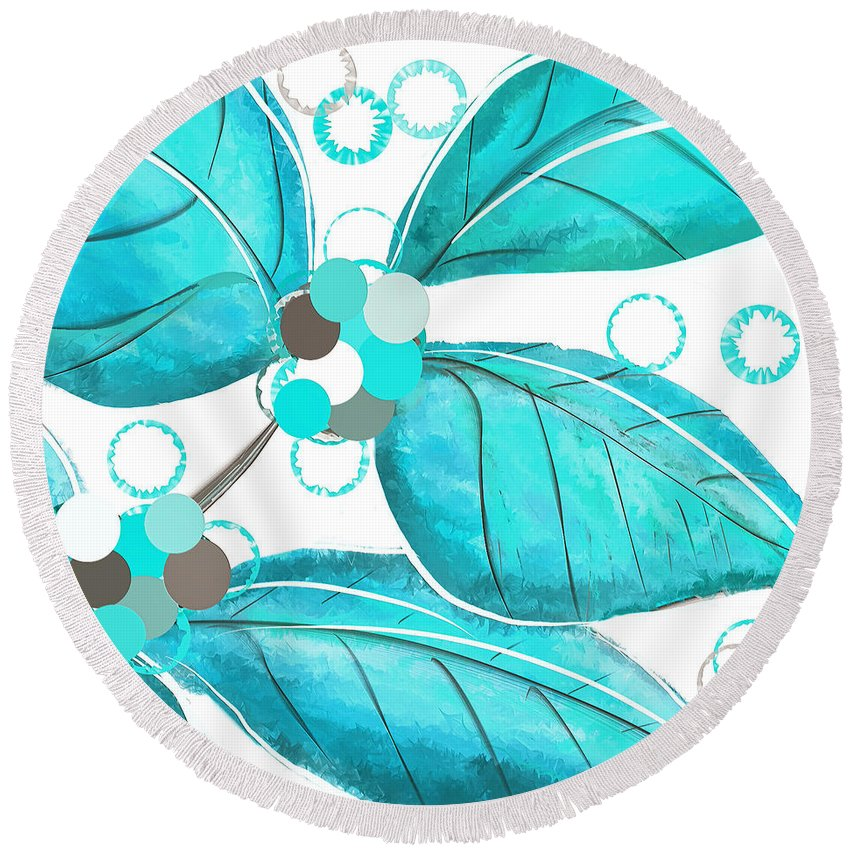 Turquoise Round Beach Towel featuring the painting Winter Leaves by Lourry Legarde