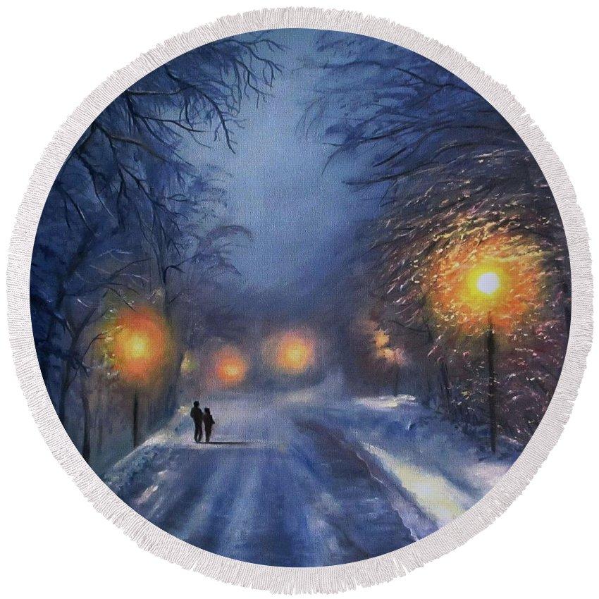 Winter Night Round Beach Towel featuring the painting Winter lights by Natalja Picugina