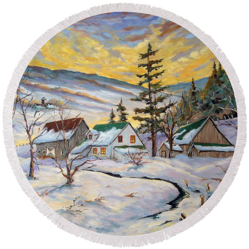 Landscape Round Beach Towel featuring the painting Winter Lights by Richard T Pranke