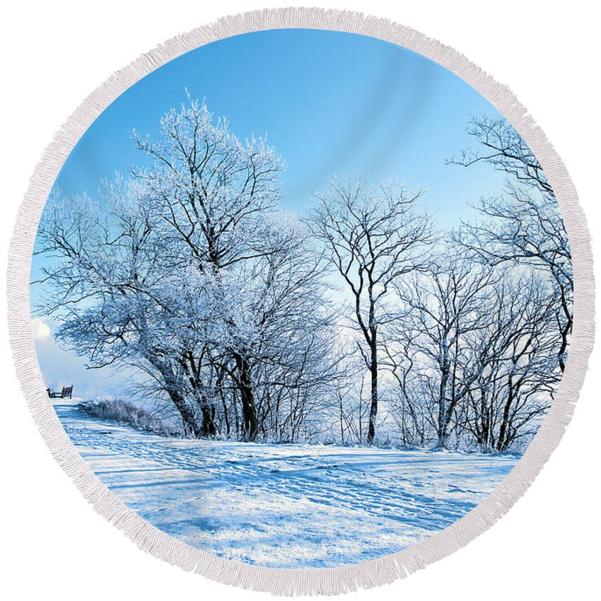 Blue Round Beach Towel featuring the photograph Winter Lights by Svetlana Sewell