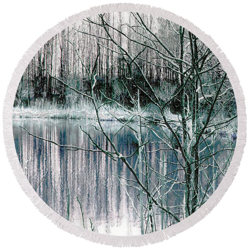 Landscape.winter Round Beach Towel featuring the photograph Winter by Linda Sannuti