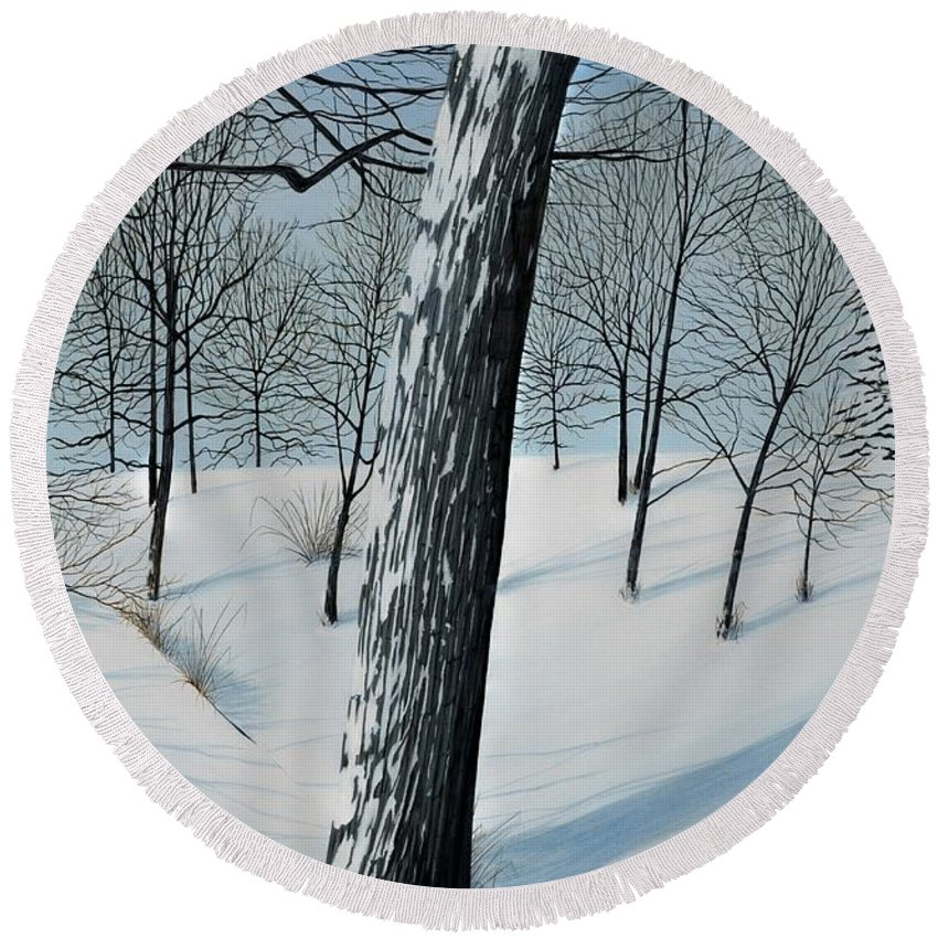 Landscape Round Beach Towel featuring the painting Winter Maple by Kenneth M Kirsch