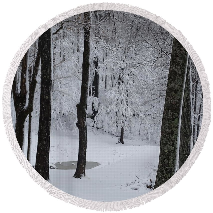 Winter Round Beach Towel featuring the photograph Winter by Mary Halpin