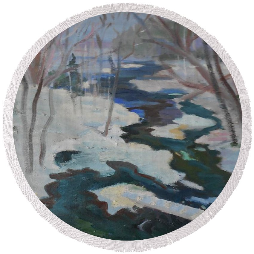 Landscape Round Beach Towel featuring the painting Winter Mill Stream by Francine Frank