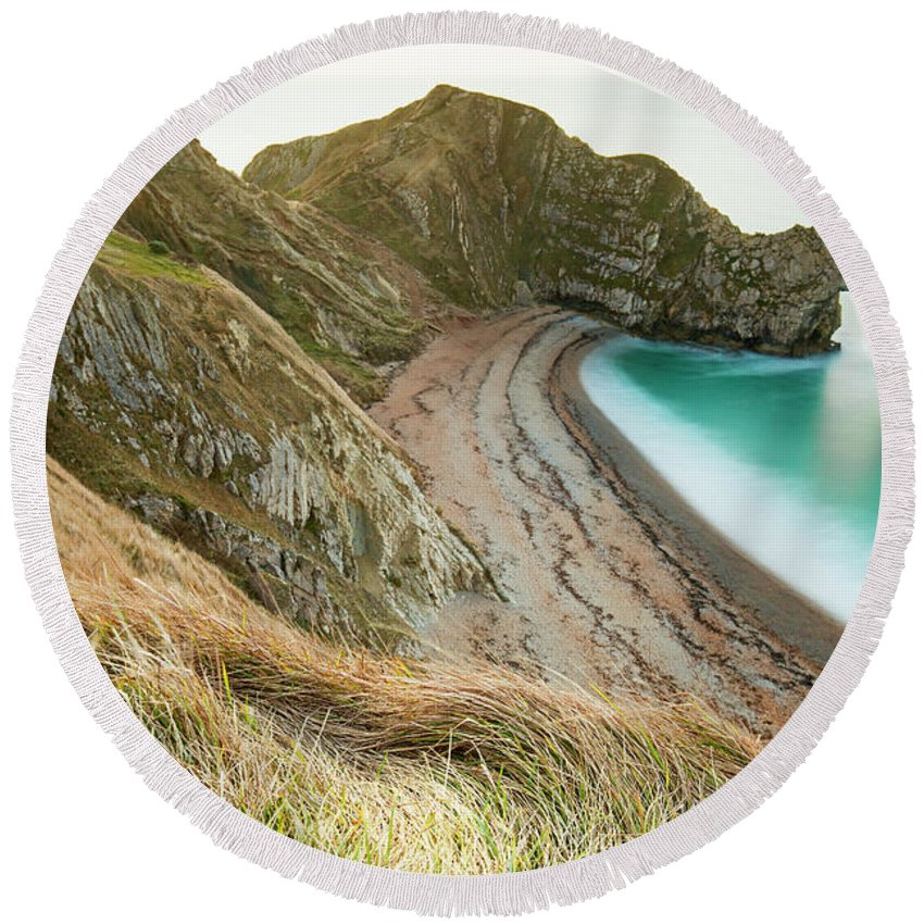 Landscape Round Beach Towel featuring the photograph Winter Morning At Durdle Door by Louise Welcome