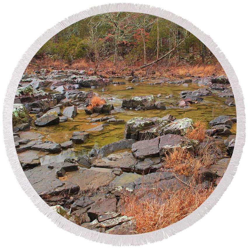 Marble Creek Round Beach Towel featuring the photograph Winter Morning On Marble Creek 1 by Greg Matchick