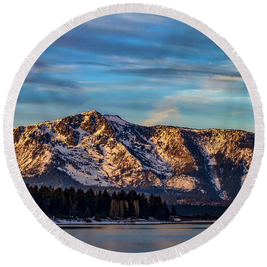 Winter Morning South Lake Tahoe Round Beach Towel featuring the photograph Winter Morning South Lake Tahoe by Mitch Shindelbower