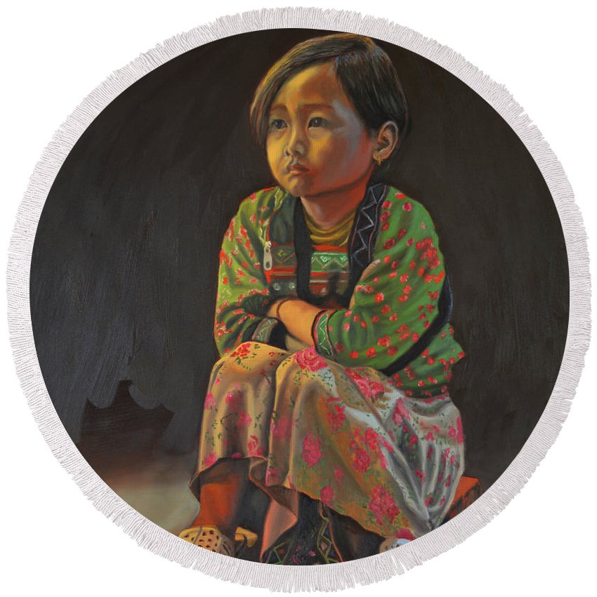 Portrait Painting Round Beach Towel featuring the painting Winter Night by Thu Nguyen