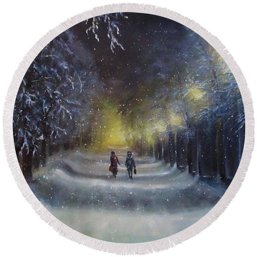 Night Lights Round Beach Towel featuring the painting Winter night walk by Natalja Picugina