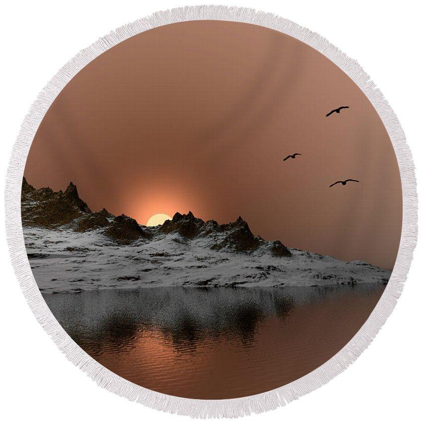 Landscape Round Beach Towel featuring the digital art winter Ocean Scene by John Junek