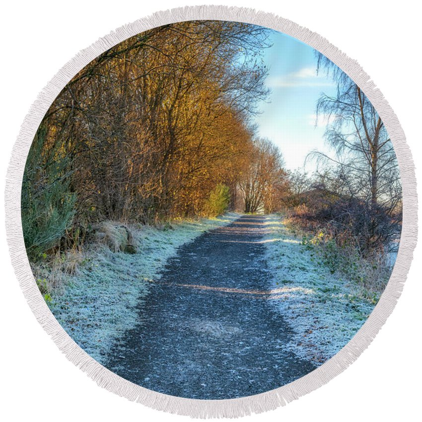 Path Round Beach Towel featuring the photograph Winter Path In Scotland by Jeremy Lavender Photography