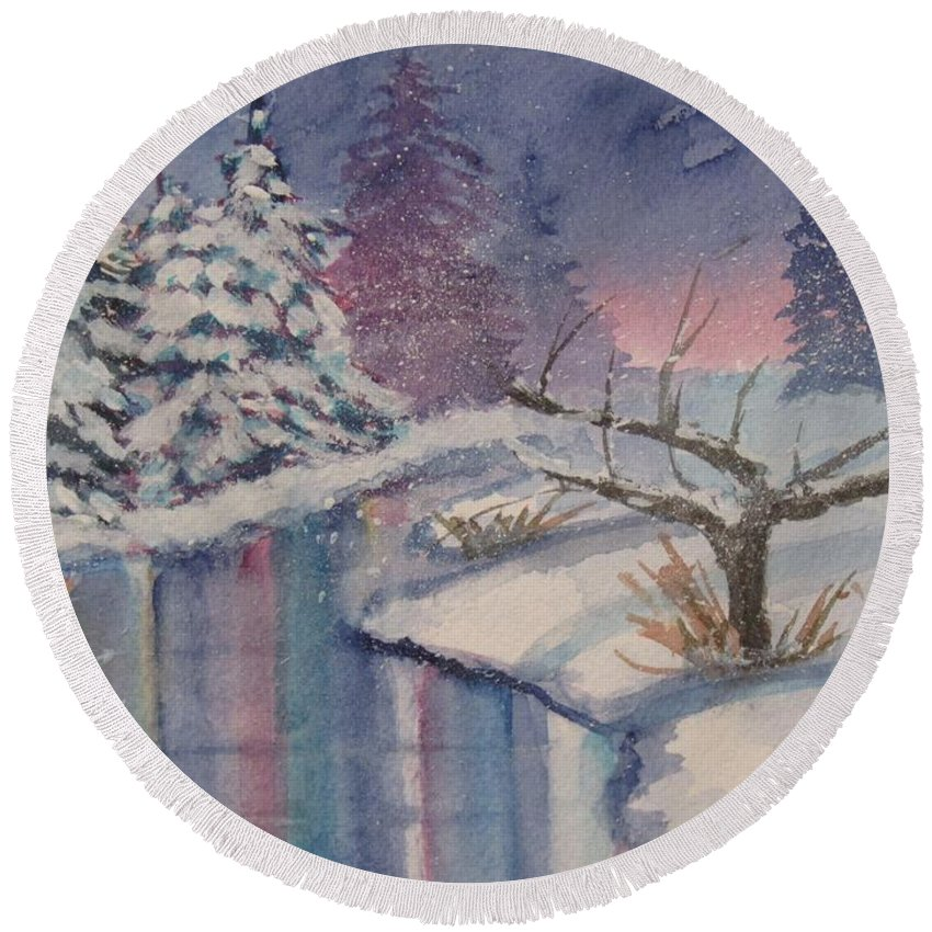 Reflections In Stream Round Beach Towel featuring the painting Winter Reflections by Donna Cary