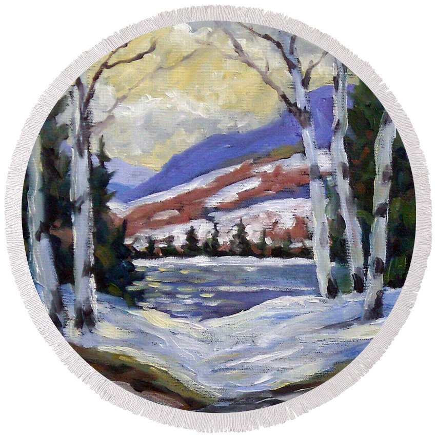 Art Round Beach Towel featuring the painting Winter Reflections by Richard T Pranke