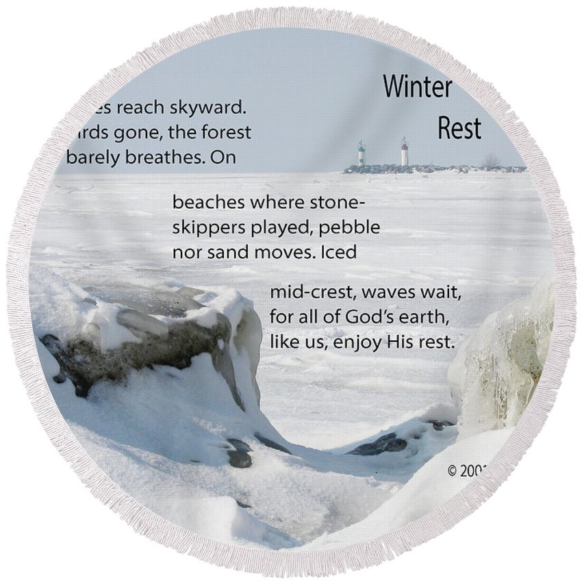 Winter Round Beach Towel featuring the photograph Winter Rest by Ann Horn