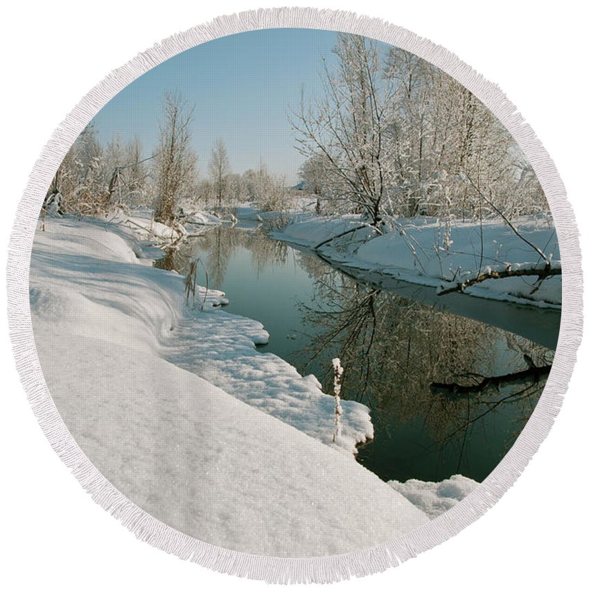River Round Beach Towel featuring the photograph Winter River by Sergey Giviryak