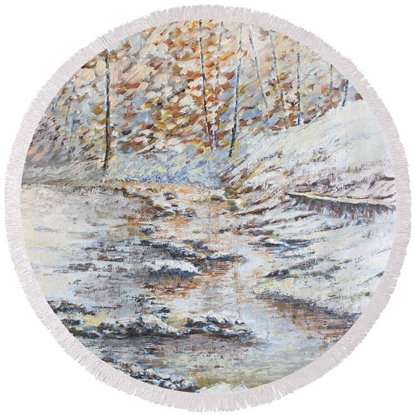 Landscape Round Beach Towel featuring the painting Winter River by Todd Blanchard