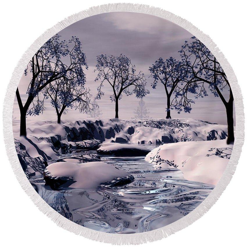 Winter Round Beach Towel featuring the digital art Winter Scene by John Junek