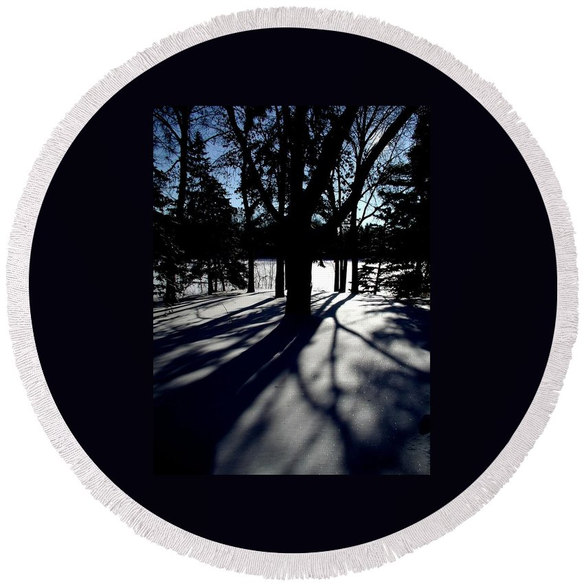 Landscape Round Beach Towel featuring the photograph Winter Shadows 2 by Tom Reynen