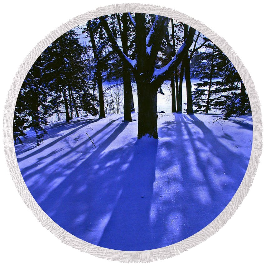 Landscape Round Beach Towel featuring the photograph Winter Shadows by Tom Reynen