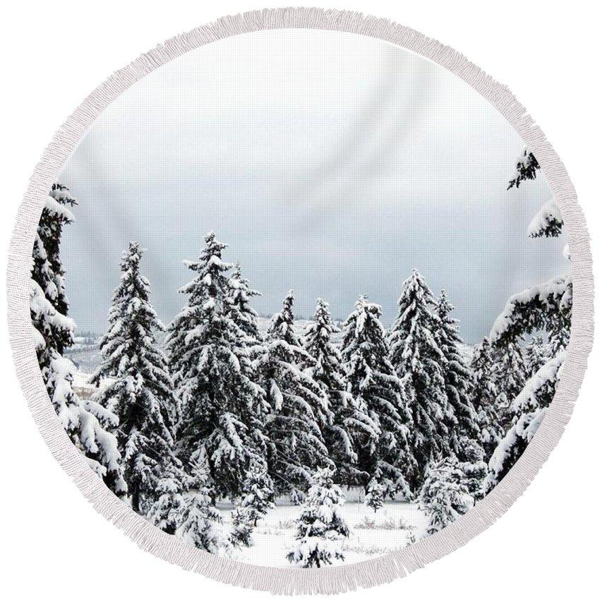 #wintershangri-la Round Beach Towel featuring the photograph Winter Shangri-la by Will Borden
