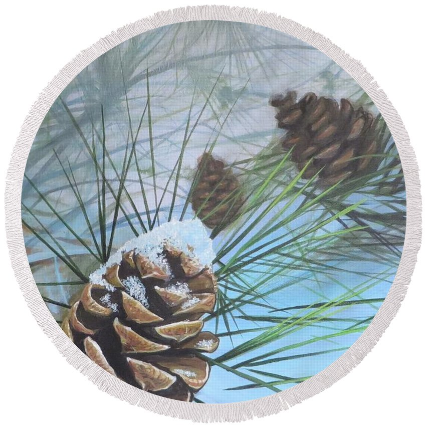 Pinecone Round Beach Towel featuring the painting Winter Silence by Hunter Jay