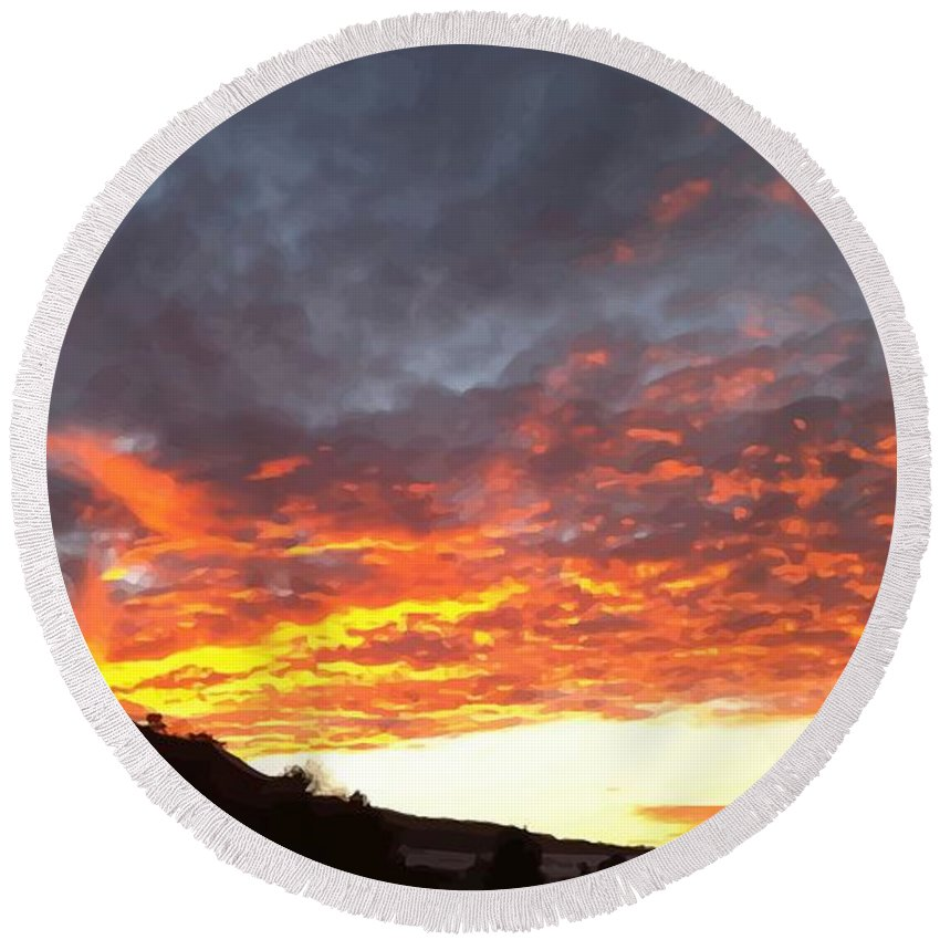 Sky Round Beach Towel featuring the digital art Winter Sky by Nubes DesignCH