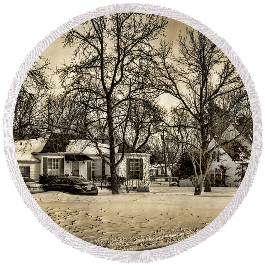 Winter Round Beach Towel featuring the photograph Winter Snow by Ricky Barnard