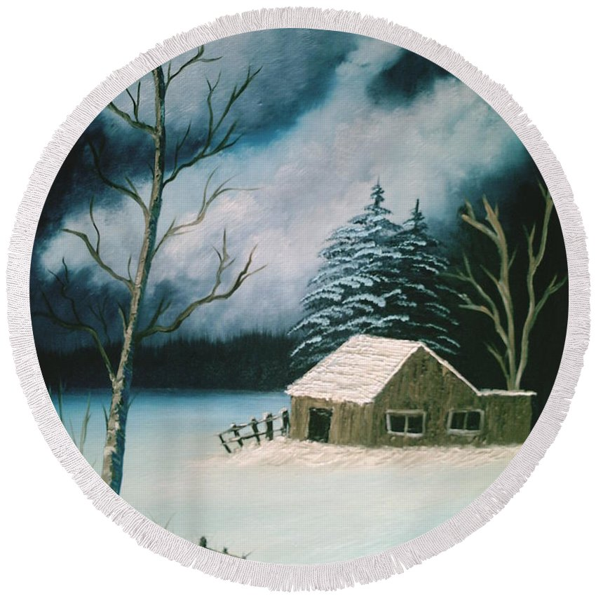 Winter Landscape Round Beach Towel featuring the painting Winter Solitude by Jim Saltis