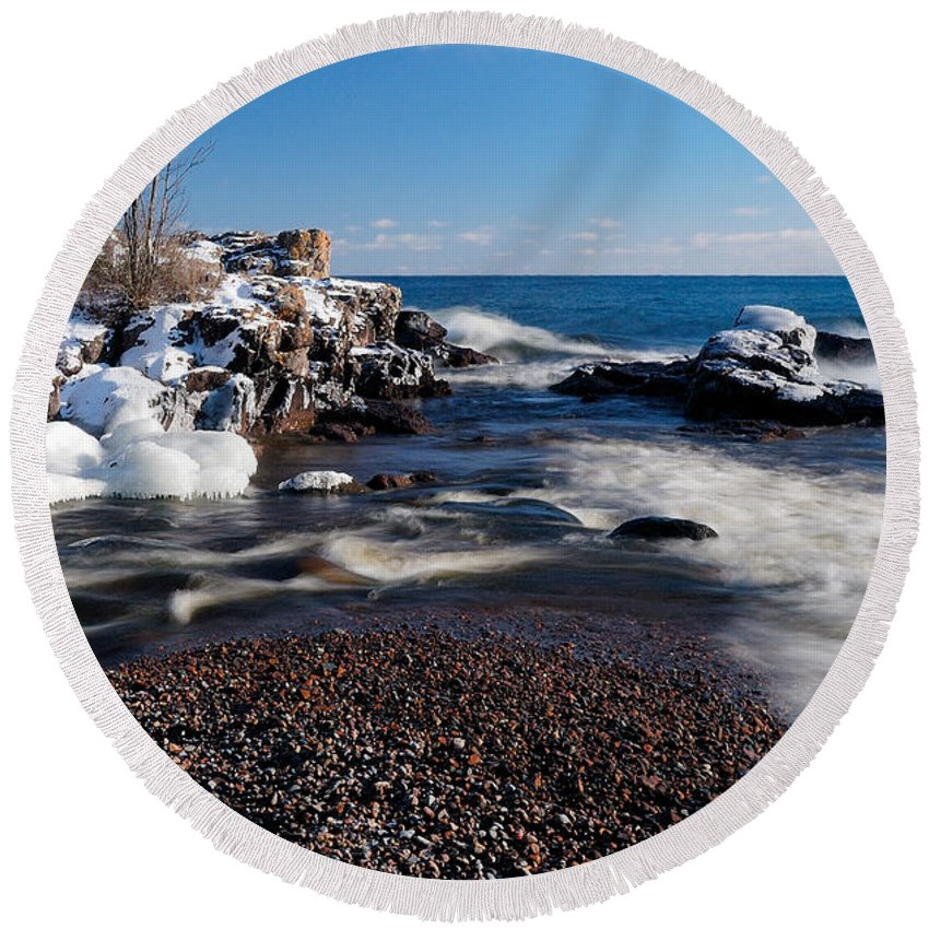 Michigan Round Beach Towel featuring the photograph Winter Splash by Sebastian Musial