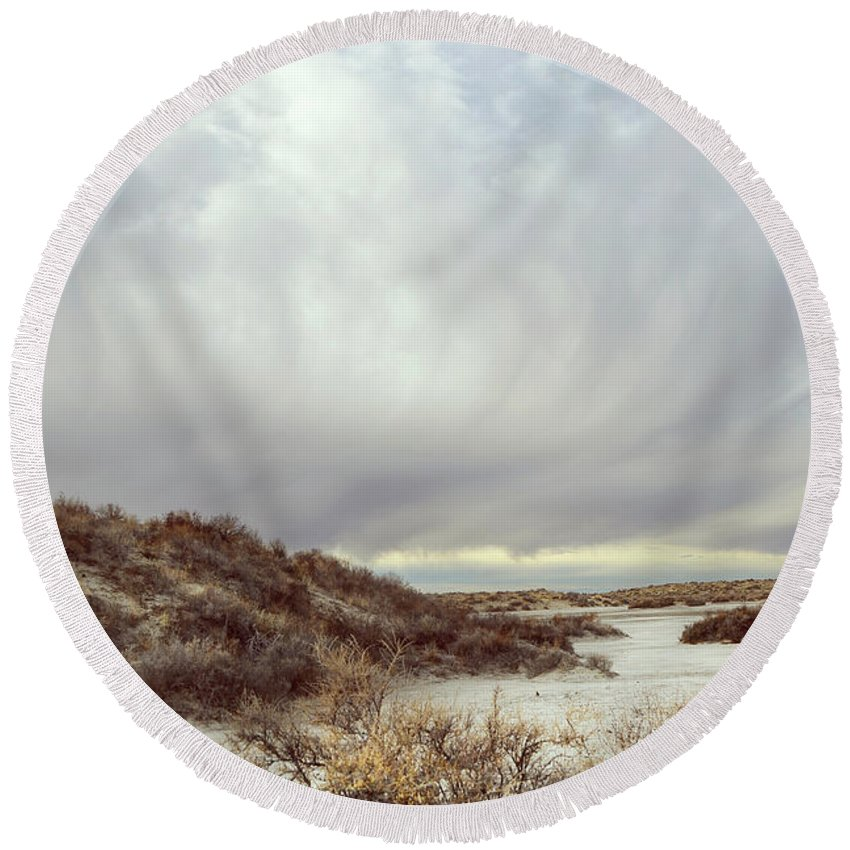 Landscapes Round Beach Towel featuring the photograph Winter Storm Clouds 2018-2289 by Karen W Meyer