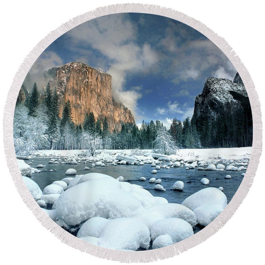 Yosemite National Park; California; United States; North America; Np; Gates Of The Valley Round Beach Towel featuring the photograph Winter Storm In Yosemite National Park by Dave Welling