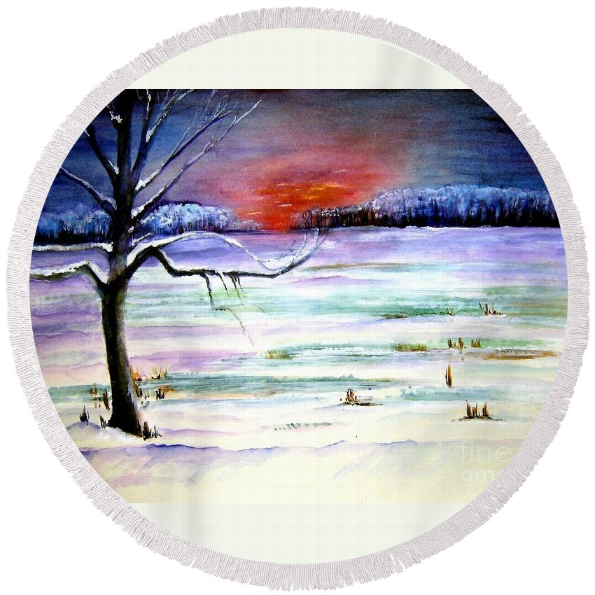 Ice Round Beach Towel featuring the painting Winter Sun by Sandy Ryan