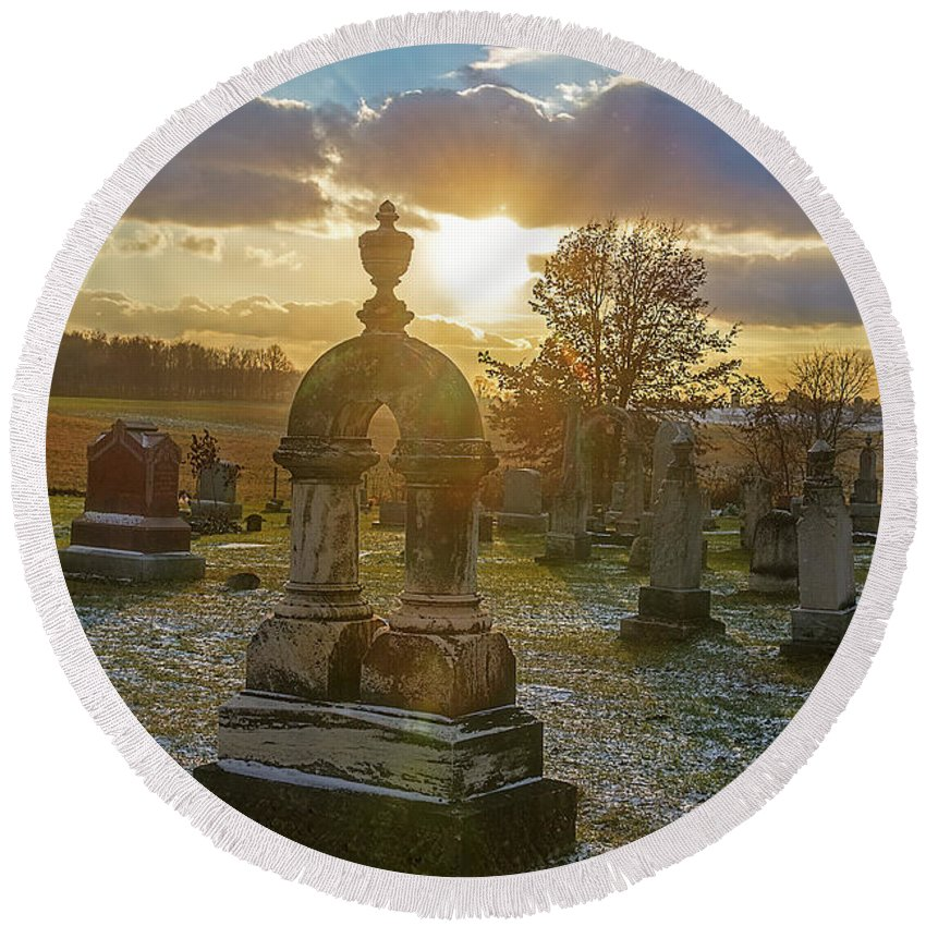 Graveyard Round Beach Towel featuring the photograph Winter Sundown In Graveyard by David Arment