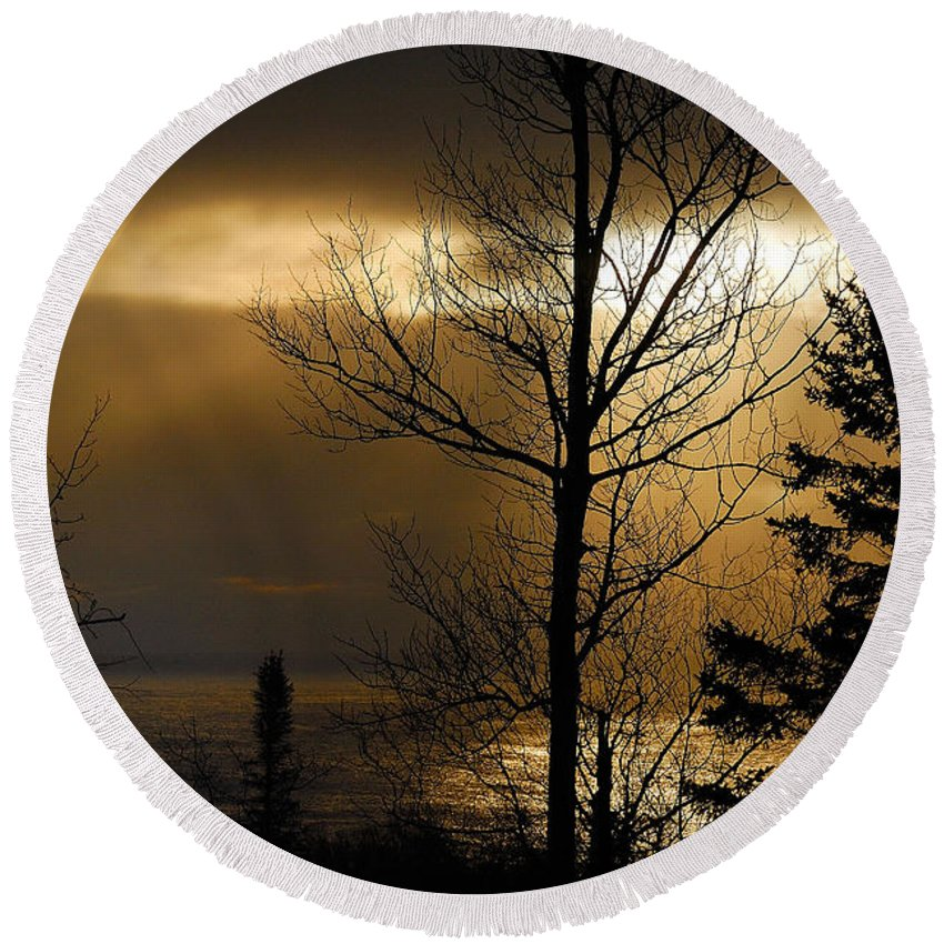 Nature Round Beach Towel featuring the photograph Winter Sunrise 1 by Sebastian Musial