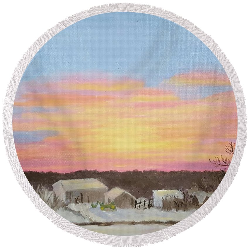 Winter Round Beach Towel featuring the painting Winter Sunrise On The Farm by Dorothy Weichenthal