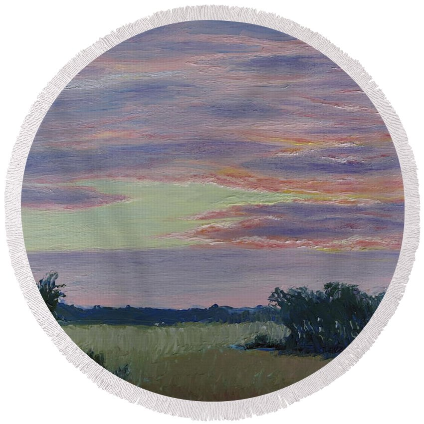 Sunset Round Beach Towel featuring the painting Winter Sunset by Lea Novak