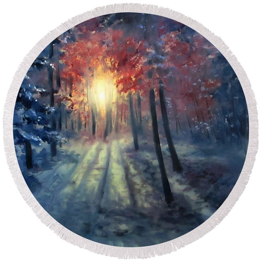 Sunset Round Beach Towel featuring the painting Winter sunset by Natalja Picugina