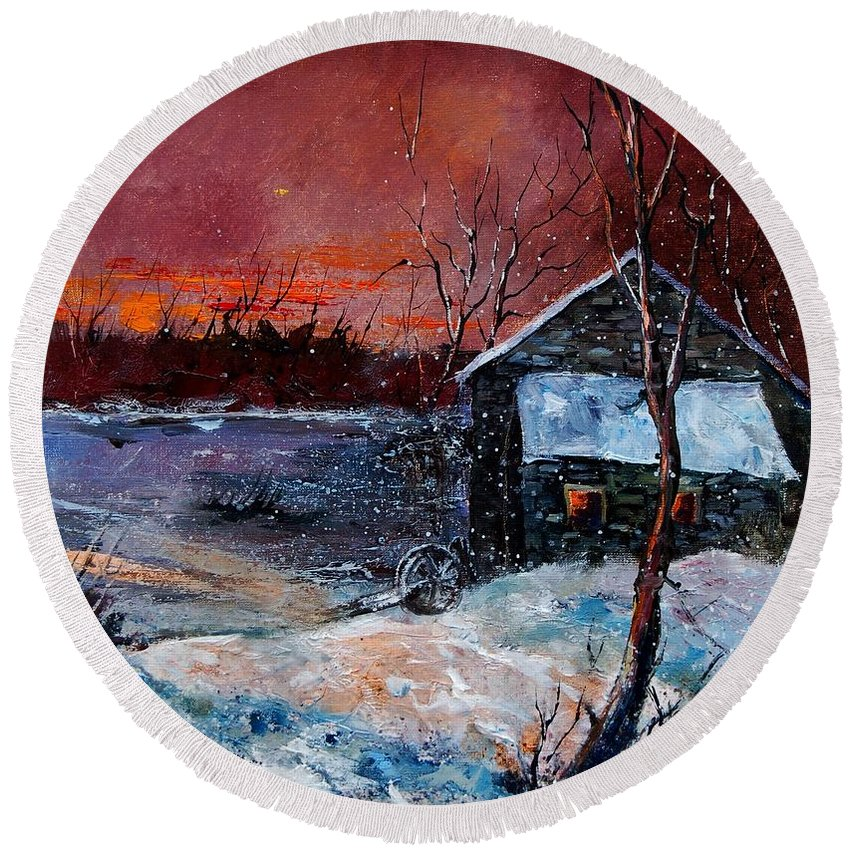 Winter Round Beach Towel featuring the painting Winter Sunset by Pol Ledent