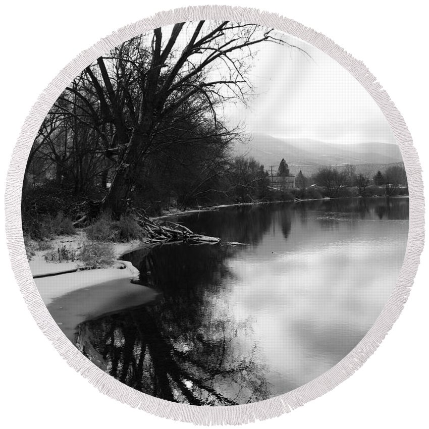 Black And White Round Beach Towel featuring the photograph Winter Tree Reflection - Black and White by Carol Groenen