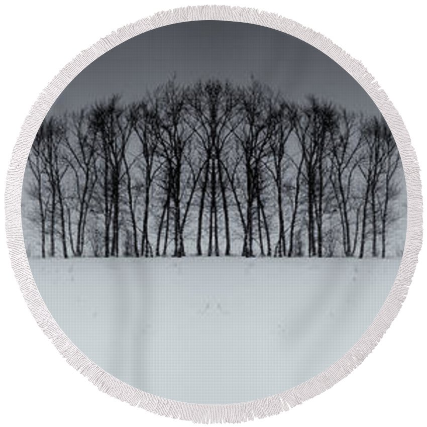Snow Round Beach Towel featuring the photograph Winter Tree Symmetry Long Horizontal by John Williams