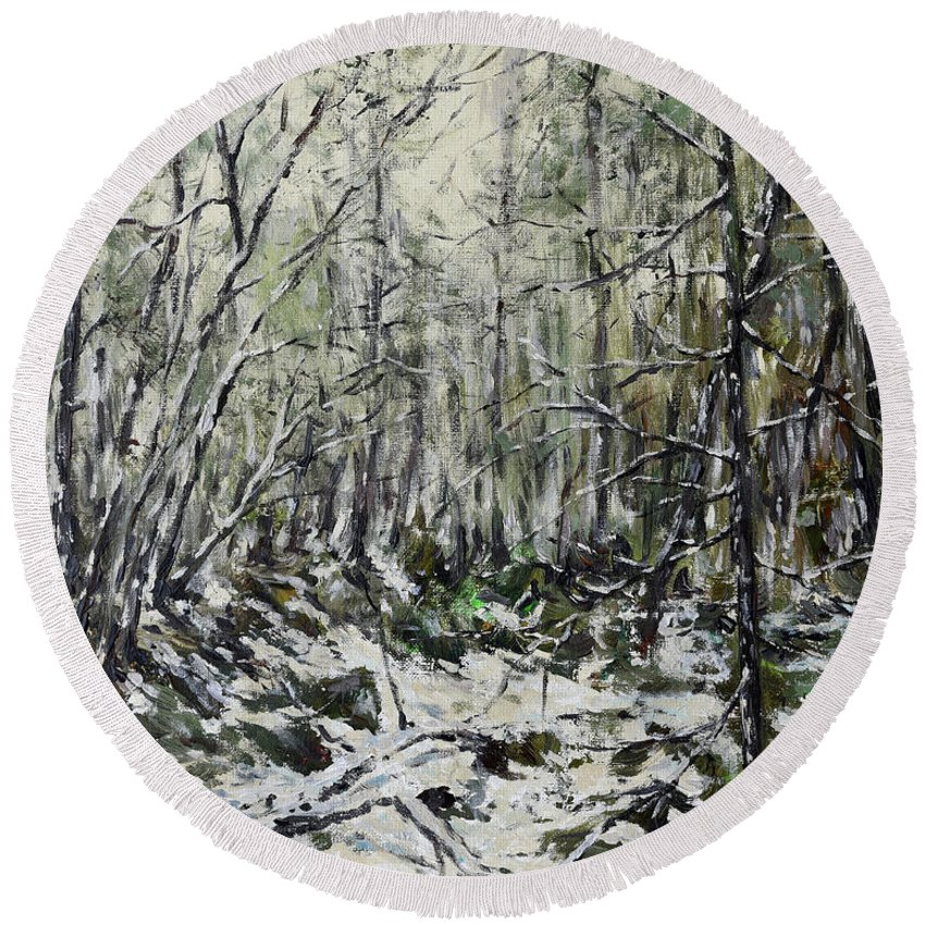 Painting Round Beach Towel featuring the painting Winter Trees by Eugene Kuperman
