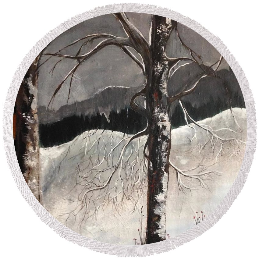 Trees Round Beach Towel featuring the painting Winter Trees by Kathy Othon