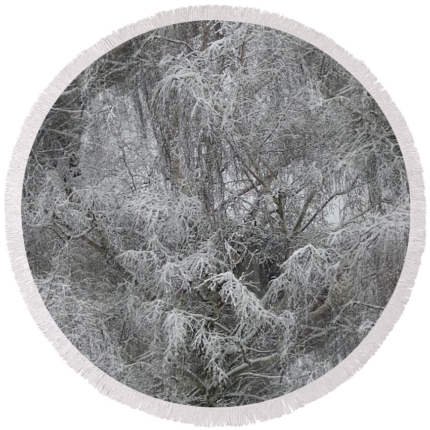 Winter Round Beach Towel featuring the photograph Winter Trees by Tim Allen