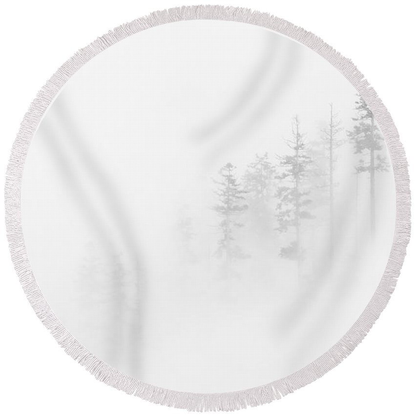Winter Round Beach Towel featuring the photograph Winter Veil by Mike Dawson