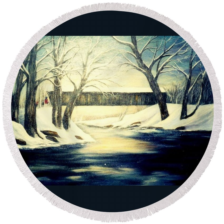 Bridge Round Beach Towel featuring the painting Winter Walk At Bennett's Mill Bridge by Gail Kirtz