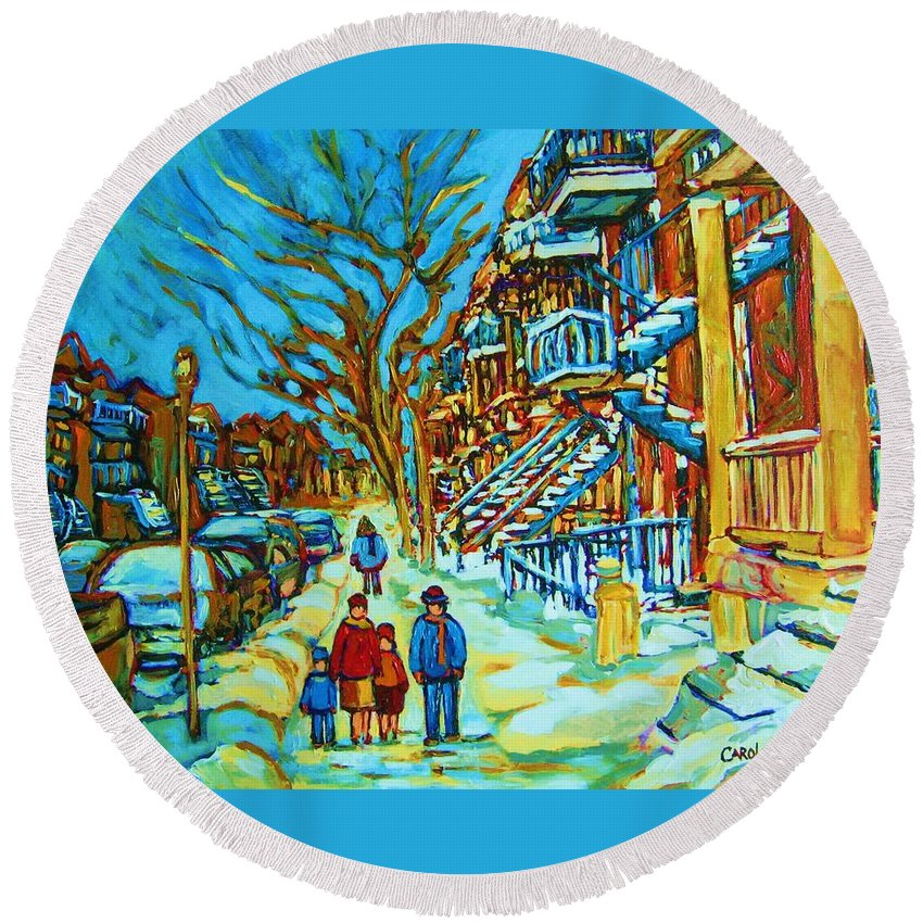 Winterscenes Round Beach Towel featuring the painting Winter Walk In The City by Carole Spandau
